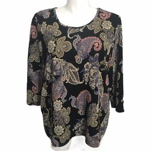 Napa Valley floral textured knit top. Sz 2X